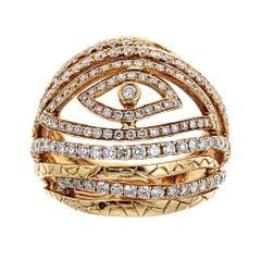 18 Karat Yellow Gold and Diamond Eye Ring