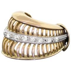18 Karat Yellow Gold and Diamond Feather Ring Vintage 1920s Art Deco