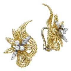 18 Karat Yellow Gold and Diamond Floral Leaf Earrings