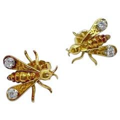 18 Karat Yellow Gold and Diamond Fly Earrings
