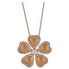 18 Karat Yellow Gold and Diamond Flower Pendant Necklace Contemporary Design