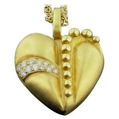 18 Karat Yellow Gold and Diamond Heart Pendant
