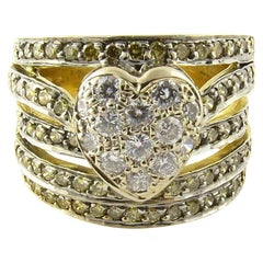 18 Karat Yellow Gold and Diamond Heart Ring
