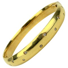 18 Karat Yellow Gold and Diamond Heavy Solid Bangle Bracelet