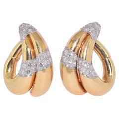 18 Karat Yellow Gold and Diamond Hoop Earrings by Van Cleef & Arpels circa 1950s