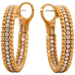 18 Karat Yellow Gold and Diamond Hoop Earrings