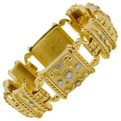 18 Karat Yellow Gold and Diamond Linked Bracelet