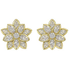 18 Karat Yellow Gold and Diamond Lotus Flower Earrings