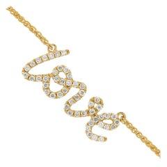 18 Karat Yellow Gold and Diamond LOVE Necklace