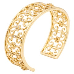 18 Karat Yellow Gold and Diamond Open Cuff Arabesque Bracelet-Retail $5995