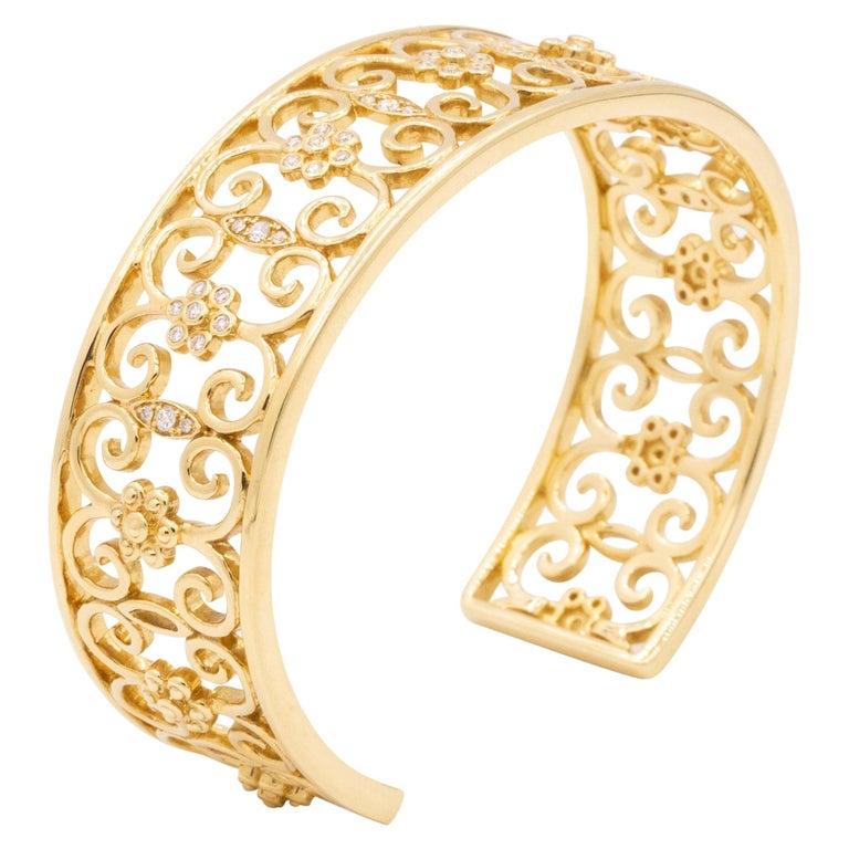 18 Karat Yellow Gold and Diamond Open Cuff Arabesque Bracelet For Sale