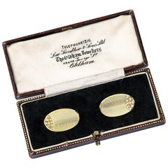 18 Karat Yellow Gold and Diamond Oval Cufflinks, English, circa 1970s, in Box