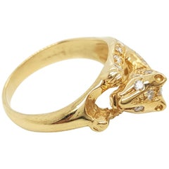 18 Karat Yellow Gold and Diamond Panther Ring