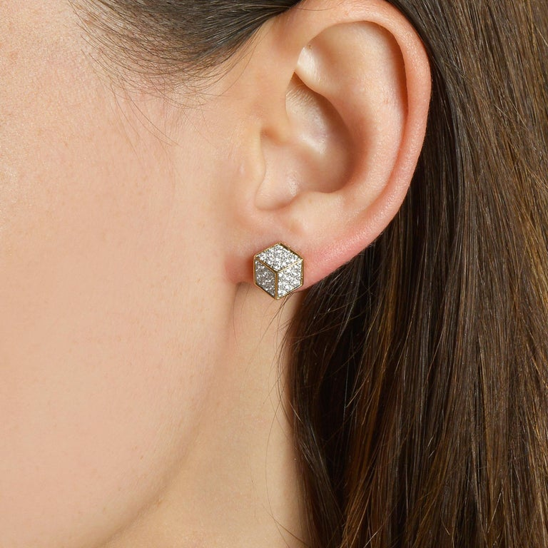 Contemporary Paolo Costagli 18 Karat Yellow Gold and Diamond Pave Brillante Stud Earrings For Sale