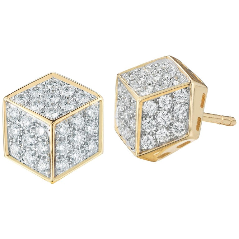Paolo Costagli 18 Karat Yellow Gold and Diamond Pave Brillante Stud Earrings For Sale