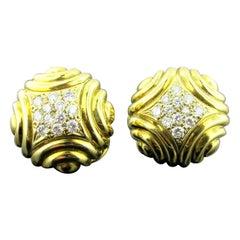 18 Karat Yellow Gold and Diamond Pave Earrings