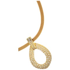 18 Karat Yellow Gold and Diamond Pendant