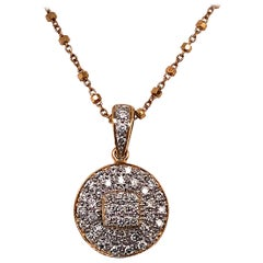 18 Karat Yellow Gold and Diamond Pendant / Necklace