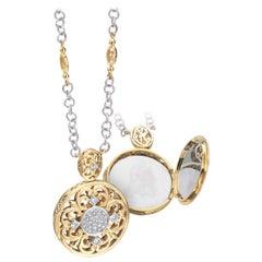 18 Karat Yellow Gold and Diamond Pendant or Necklace