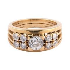 18 Karat Yellow Gold and Diamond Ring, 1980s