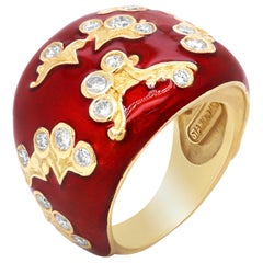 18 Karat Yellow Gold and Diamond Ring with Flowers and Red Enamel Stambolian
