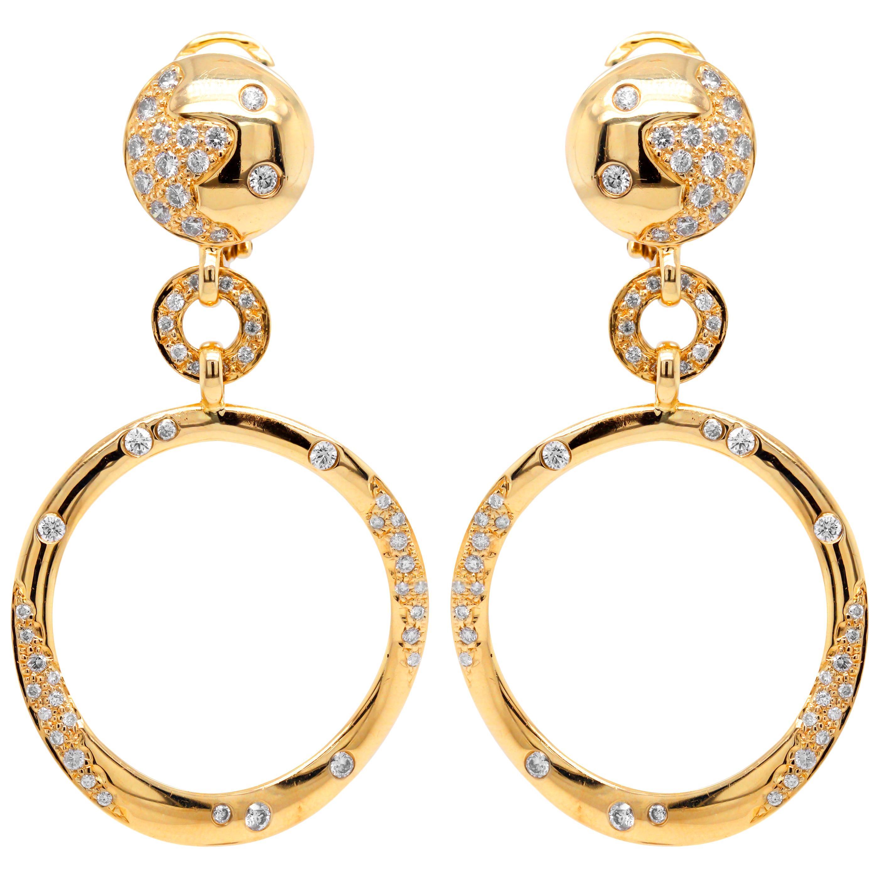 18 Karat Yellow Gold and Diamond Round Drop Dangle Earrings