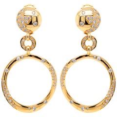 18 Karat Yellow Gold and Diamond Round Drop Dangle Earrings