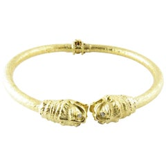 18 Karat Yellow Gold and Diamond Serpent Head Bangle Bracelet