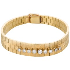 18 Karat Yellow Gold and Diamond Set Watch Strap Bracelet