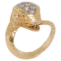18 Karat Yellow Gold and Diamond Snake Ring, circa 1970