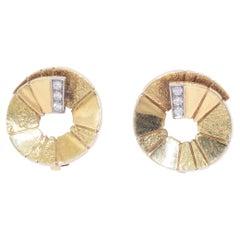 18 Karat Yellow Gold and Diamond Spiral Earrings, circa 1980s