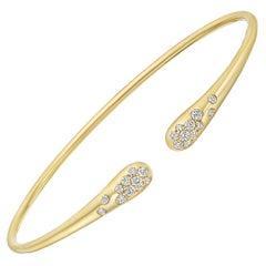 18 Karat Yellow Gold and Diamond Sprinkle Cuff