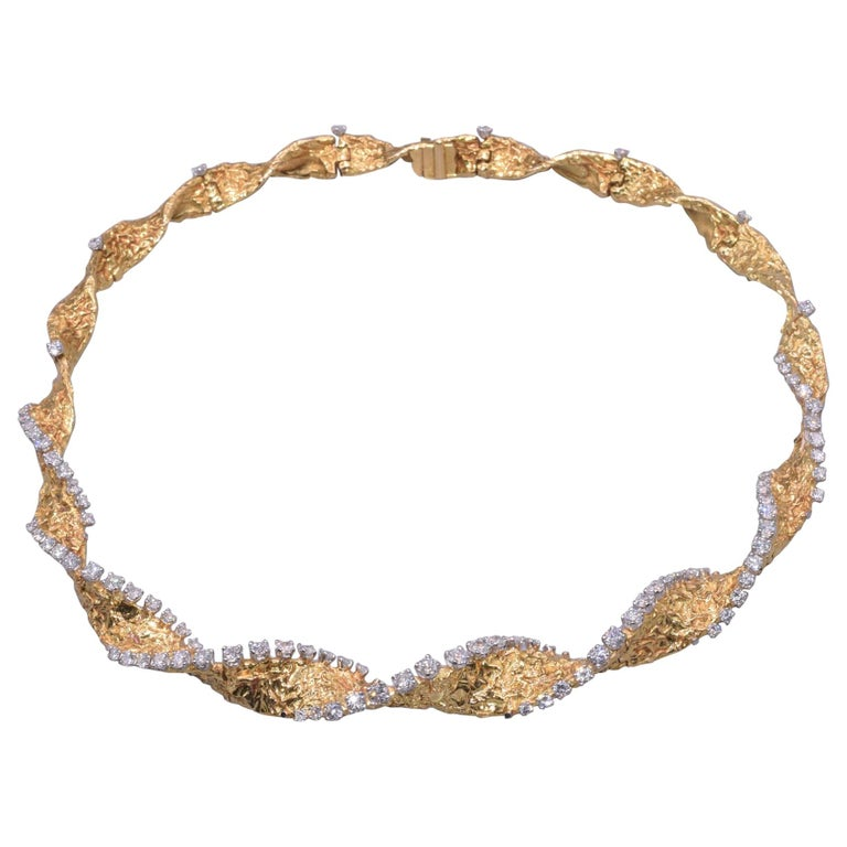 18 Karat Yellow Gold and Diamond Textured Spiral Necklace by Cartier, circa 1965 For Sale