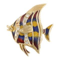 18 Karat Yellow Gold and Diamond Tropical Fish Pin EN978D