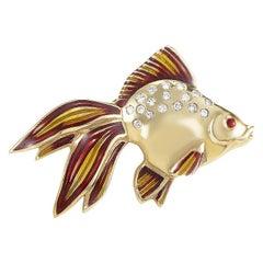 18 Karat Yellow Gold and Diamond Tropical Fish Pin