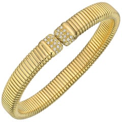 18 Karat Yellow Gold and Diamond Tubogas Cuff