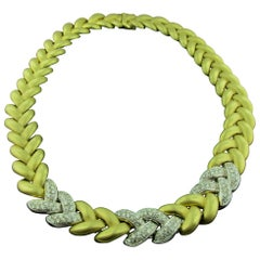 18 Karat Yellow Gold and Diamond Woven Necklace in Matte Finish