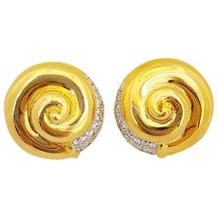 18 Karat Yellow Gold and Diamonds 0.65 Carat Swirl Button Earrings