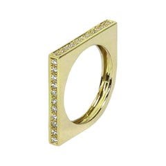 18 Karat Yellow Gold and Diamonds Engagement, Wedding Ring