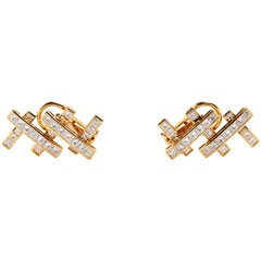 18 Karat Yellow Gold and Diamonds Hammerman Bros. Earrings