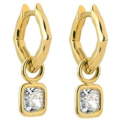 18 Karat Yellow Gold and Diamonds Mini Hoop Earrings