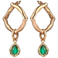 18 Karat Yellow Gold and Emeralds Hoop Earrings