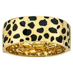 "18 Karat Yellow Gold and Enamel ""Leopard"" Style Bangle Bracelet"