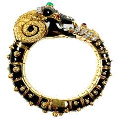 18 Karat Yellow Gold and Enamel Ram's Head Bangle by David Webb