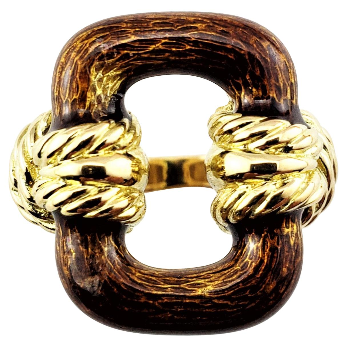 18 Karat Yellow Gold and Enamel Ring