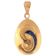 18 Karat Yellow Gold and Enamel Virgin Mary and Child Pendant