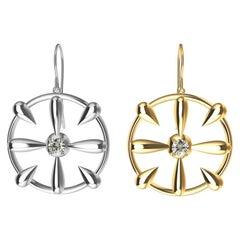 18 Karat Yellow Gold and GIA Diamond Teardrop Earrings Mix Match