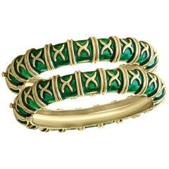 18 Karat Yellow Gold and Green Enamel Pair of Bangle / Bracelet, 129 Grams
