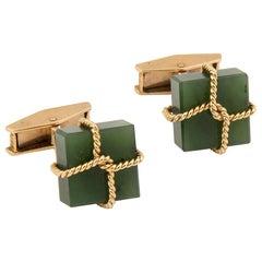 18 Karat Yellow Gold and Jade Package Cufflinks by Alan Gard