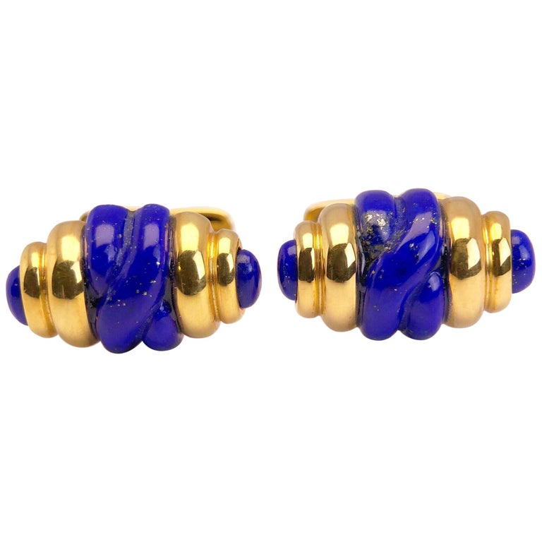18 Karat Yellow Gold and Lapis Lazuli Barrel Shaped Cuff Links For Sale